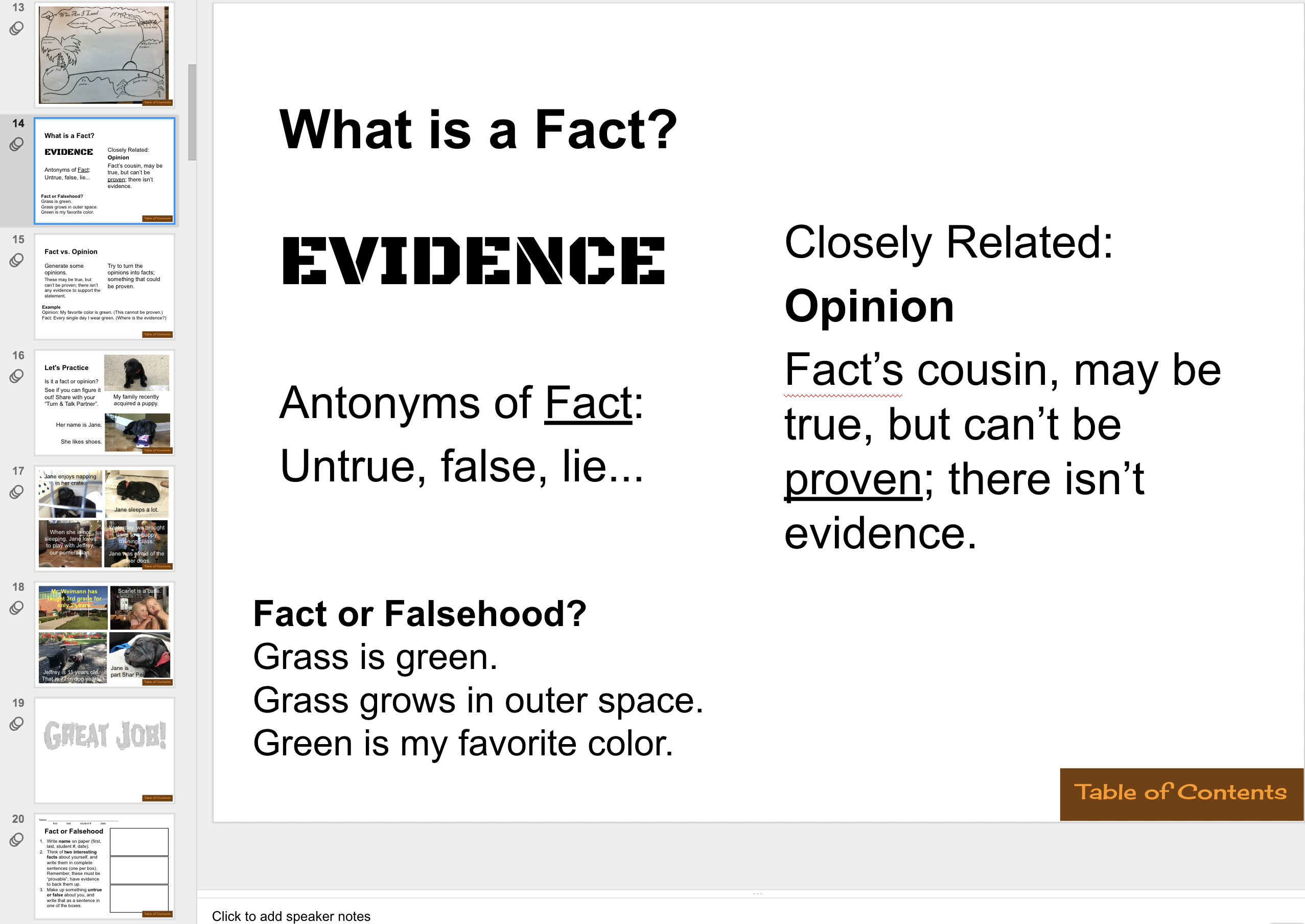 Previous Evidence Lesson (1st day)